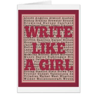 Escriba como un lápiz labial del chica tarjeta de felicitación