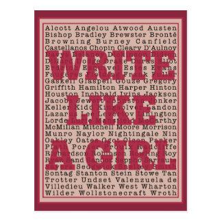 Escriba como un lápiz labial del chica tarjeta postal