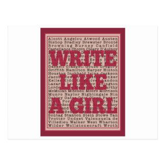 Escriba como un lápiz labial del chica tarjetas postales
