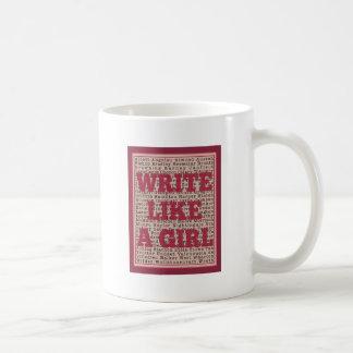 Escriba como un lápiz labial del chica taza de café