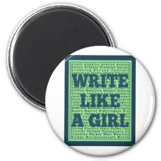 Escriba como un pavo real del chica imán redondo 5 cm