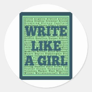 Escriba como un pavo real del chica etiquetas redondas