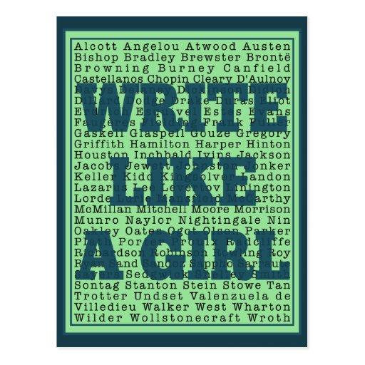 Escriba como un pavo real del chica tarjeta postal