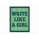 Escriba como un pavo real del chica tarjetas postales