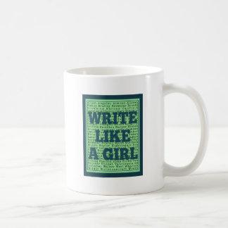 Escriba como un pavo real del chica taza de café