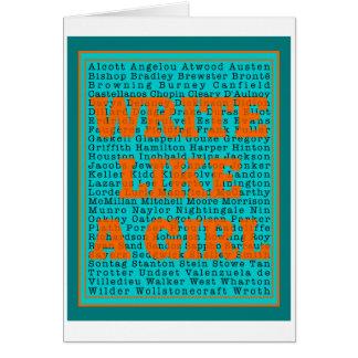Escriba como un trullo del chica tarjeta de felicitación