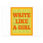 Escriba como una fruta cítrica del chica postal