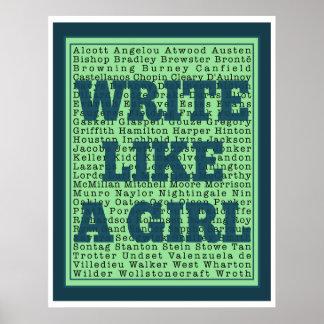 Escriba como una impresión del pavo real del chica poster