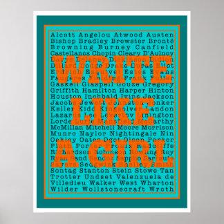Escriba como una impresión del trullo del chica póster