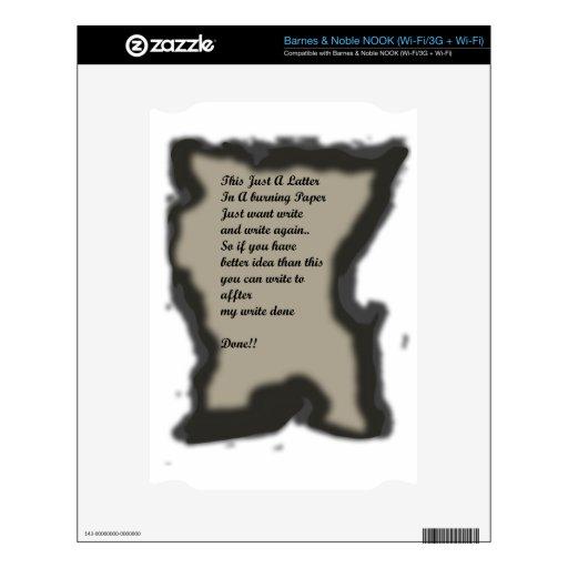 Escriba en Ilustration de papel ardiente Skin Para El NOOK