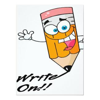 """escriba en la derecha en dibujo animado feliz invitación 6.5"""" x 8.75"""""""