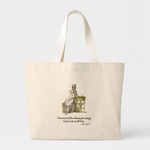 Escriba encendido dice a Jane Austen Bolsas Lienzo