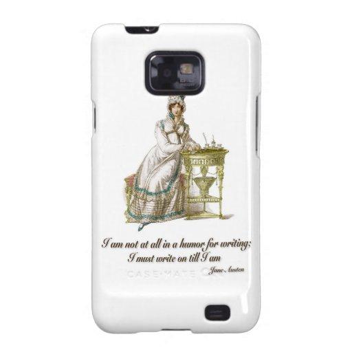 Escriba encendido dice a Jane Austen Galaxy S2 Fundas