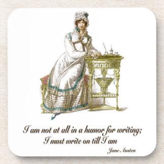 Escriba encendido dice a Jane Austen Posavasos De Bebidas