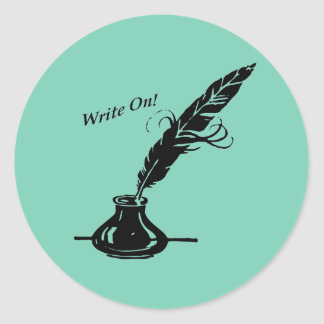 ¡Escriba encendido! Tinta de la canilla para los Pegatina Redonda