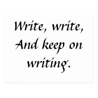 Escriba, escriba, y guarde en la escritura tarjetas postales
