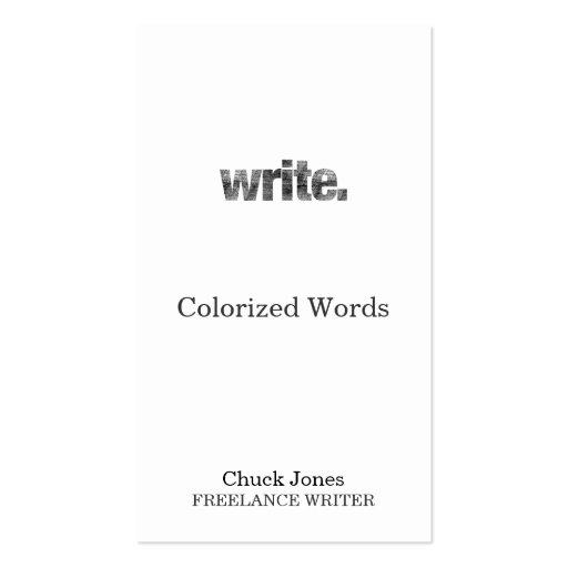 Escriba: Escritor, escritor free lance, autor Plantilla De Tarjeta Personal