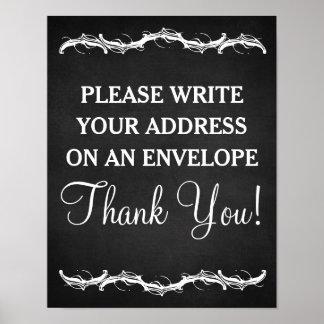 Escriba por favor su muestra del boda de la póster