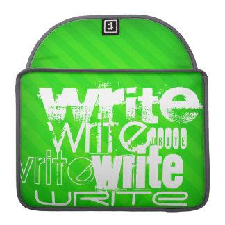 Escriba; Rayas verdes de neón Fundas Para Macbook Pro