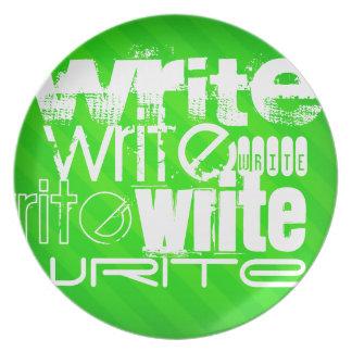 Escriba; Rayas verdes de neón Plato De Cena