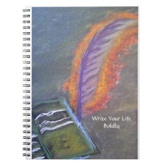 Escriba su cuaderno de la vida audazmente