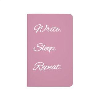 Escriba. Sueño. Repetición. Diario en rosa Cuaderno Grapado