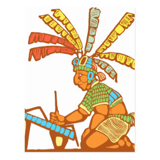 Escribano maya #1 postal