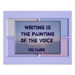 Escribiendo la cita - impresión de Voltaire Póster