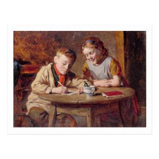 Escribiendo una letra (aceite en el panel) postales