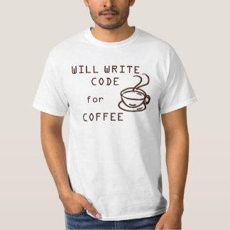 Escribirá el código para la camiseta del café playera