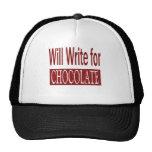 Escribirá para el regalo del chocolate para los es gorro de camionero