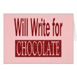 Escribirá para el regalo del chocolate para los es felicitación