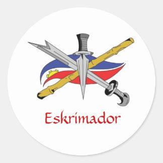 escrima-logotipo-transparente, Eskrimador Pegatina Redonda