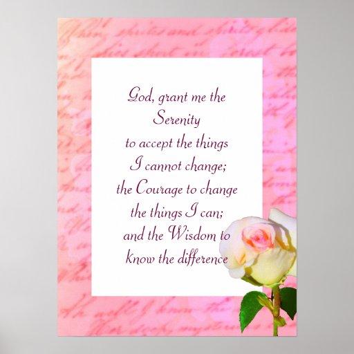 """""""Escrito con"""" rezo color de rosa de la serenidad Impresiones"""