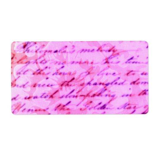 Escrito en etiqueta decorativa color de rosa etiqueta de envío