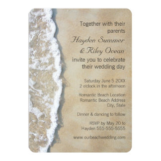 Escrito en la invitación del boda de playa de la