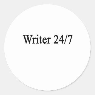 Escritor 24/7 pegatina redonda