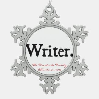 Escritor Adorno De Peltre En Forma De Copo De Nieve