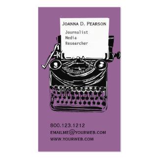 Escritor artístico antiguo de la máquina de escrib plantillas de tarjeta de negocio