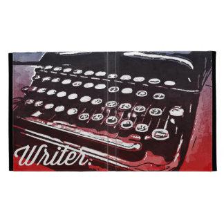 Escritor con arte pop del rojo azul de la máquina