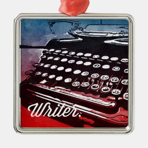 Escritor con arte pop del rojo azul de la máquina adorno navideño cuadrado de metal