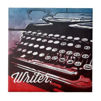 Escritor con arte pop del rojo azul de la máquina  azulejo
