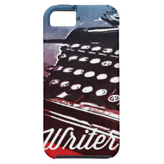 Escritor con arte pop del rojo azul de la máquina iPhone 5 Case-Mate coberturas