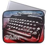 Escritor con arte pop del rojo azul de la máquina  funda computadora