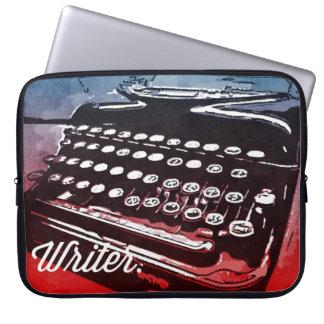 Escritor con arte pop del rojo azul de la máquina mangas computadora
