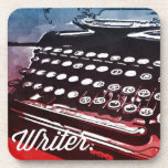 Escritor con arte pop del rojo azul de la máquina  posavasos