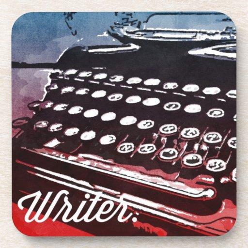 Escritor con arte pop del rojo azul de la máquina  posavaso