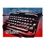 Escritor con arte pop del rojo azul de la máquina postal