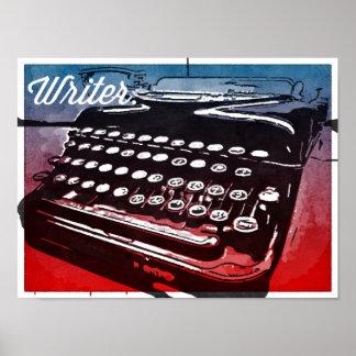 Escritor con el poster del arte pop del rojo azul