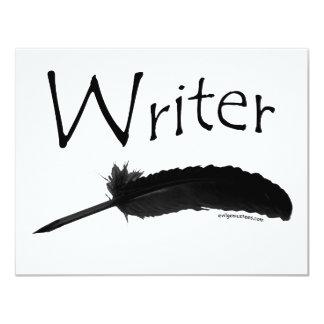 """Escritor con la pluma de canilla invitación 4.25"""" x 5.5"""""""